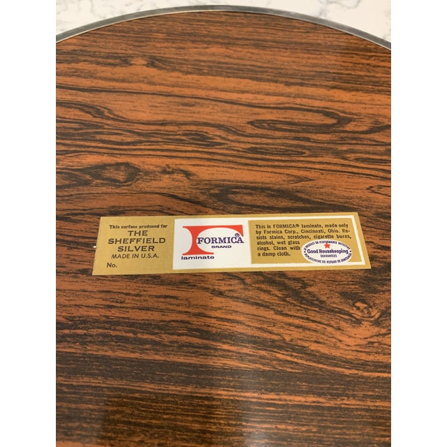 Brown Mid 20th Century Vintage Sheffield Silverplate & Rosewood Formica Serving Tray For Sale - Image 8 of 10