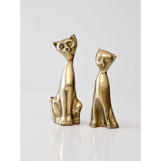 Mid-Century Brass Cat Figurines - A Pair For Sale - Image 4 of 6