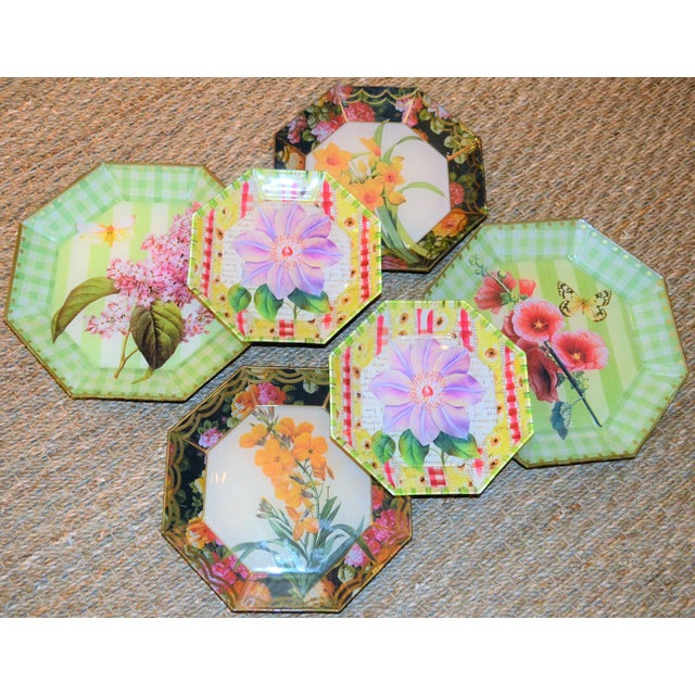 This is a beautiful set of botanical decorative plates in a decoupage style. These would be beautiful hung in powder room...