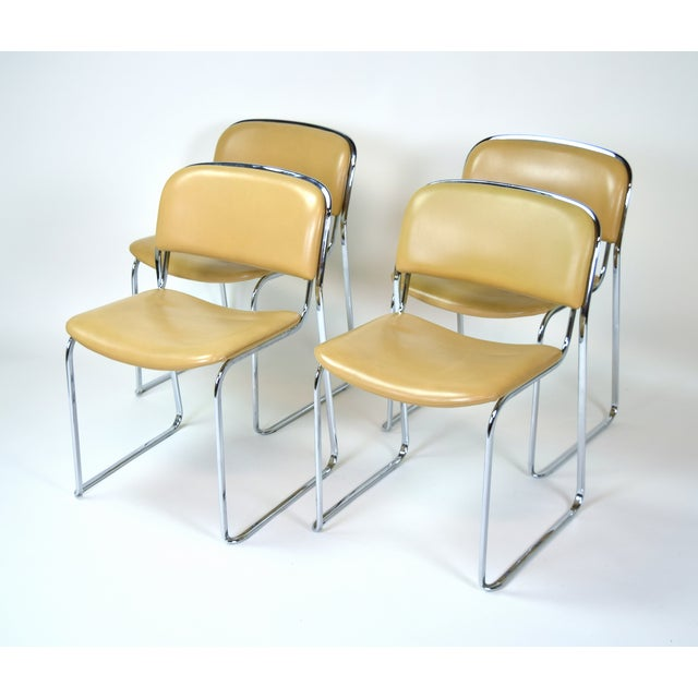 1980s Vintage Stacking Leather and Chrome Chairs by Thema- Set of 4 For Sale - Image 11 of 11