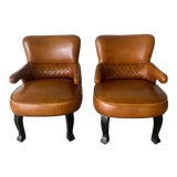 Image of 1950s Vintage English Leather Club Chairs- A Pair For Sale