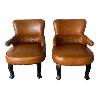 1950s Vintage English Leather Club Chairs- A Pair For Sale