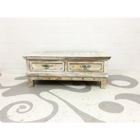"Vintage Mexican pine coffee table with two drawers. Hand-painted finish. L 48"" D 26"" H 18""1/2 Used: An item that has been..."