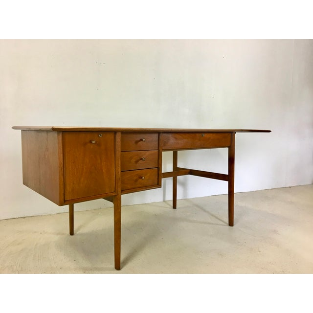Drexel Parallel Walnut Extension Desk by Barney Flagg For Sale - Image 9 of 9