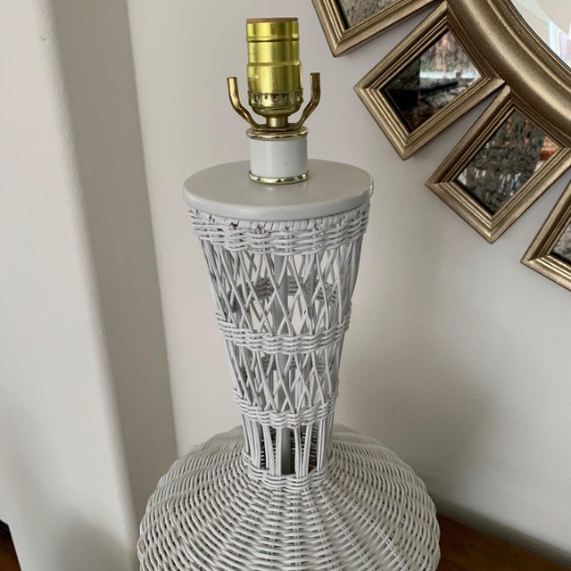 Wicker Rattan White Lamps - Pair For Sale In San Diego - Image 6 of 10