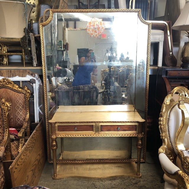 Wood Gold Gilded Console Table With Mirror For Sale - Image 7 of 7