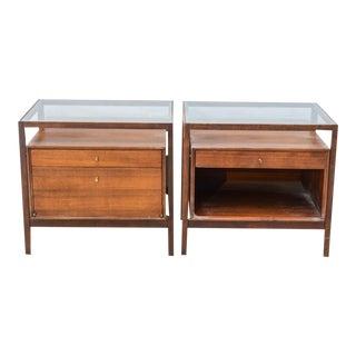 American Modern Walnut and Glass Companion Pair of Night/End Tables, John Stuart