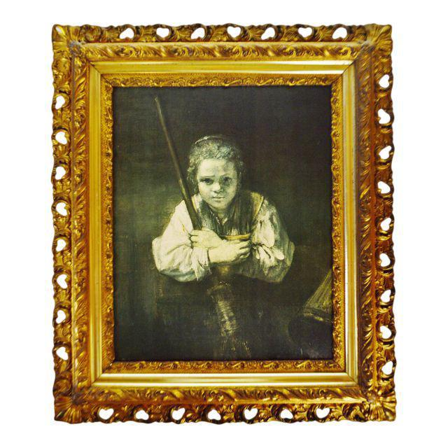 Antique Gilt Framed Rembrandt Girl With a Broom Textured Print on Panel For Sale - Image 13 of 13