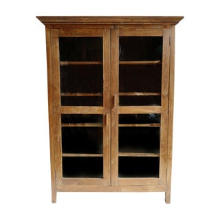 Colonial Teak & Glass Display Case For Sale
