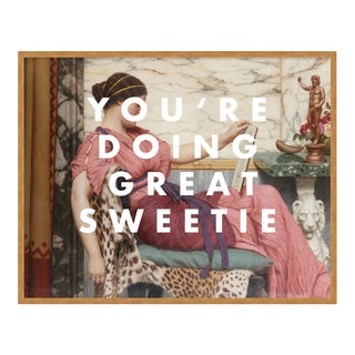 You're Doing Great Sweetie by Lara Fowler in Gold Framed Paper, Large Art Print For Sale