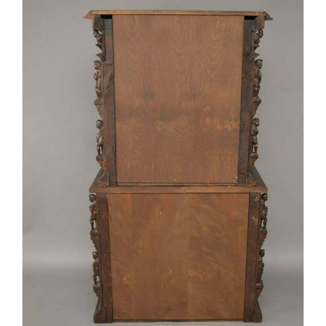 "Antique Heavily Carved Continental Court Two Piece 65"" Cabinet/Cupboard For Sale - Image 12 of 13"