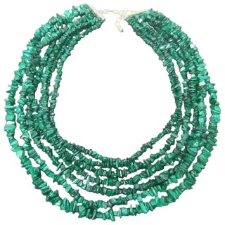 Malachite Graduated Nugget Artisan Necklace For Sale