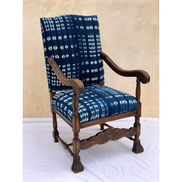19th Century French Oak Carved Armchair W/ Mali Indigo Textile For Sale - Image 13 of 13
