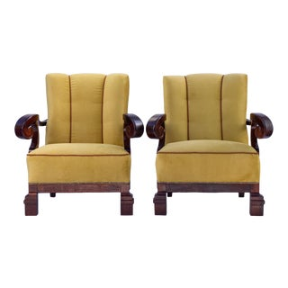 1920s Hand Carved Walnut Art Nouveau Armchairs- A Pair For Sale