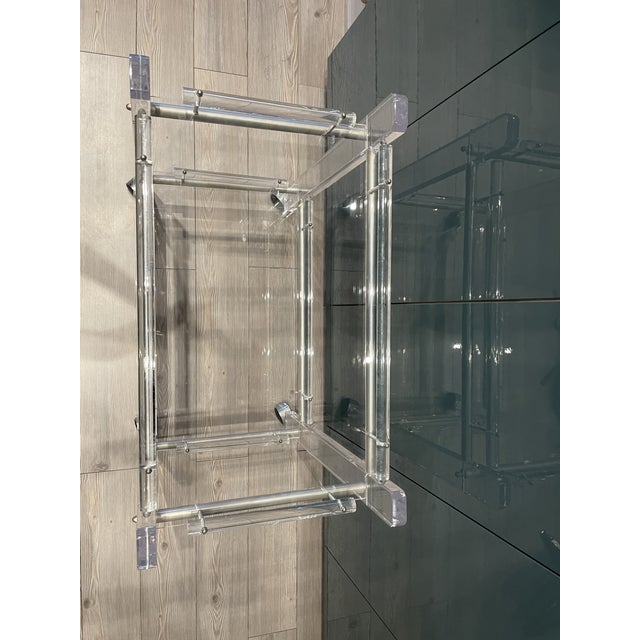 Charles Hollis Jones Hollis Jones Two-Tier Lucite Bar Cart With Removable Trays For Sale - Image 4 of 11