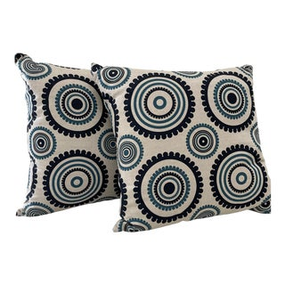 Cream Linen Pillows With Navy & Teal Circles- a Pair For Sale
