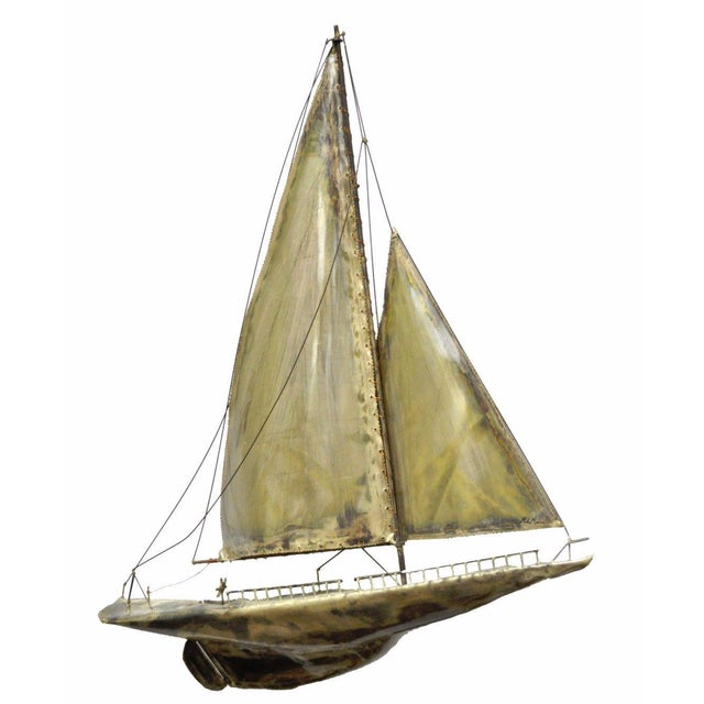 Vintage RaMan Brutalist Mid Century Modern Clipper Ship Wall Sculpture Jere Style - Image 11 of 11