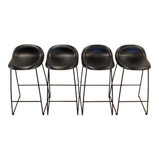 Contemporary Black Plastic Counter Stools - Set of 4