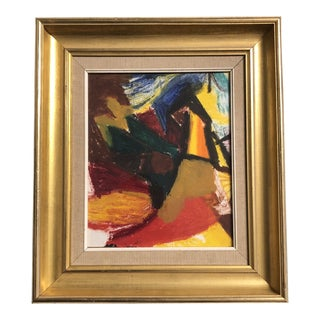 Original Vintage Abstract Painting Vintage Frame For Sale