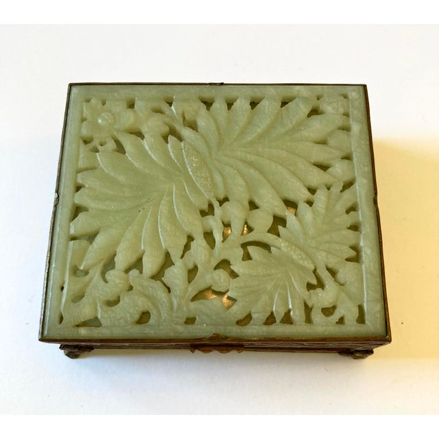 1920s Antique Chinese Jade & Brass Box For Sale - Image 5 of 9