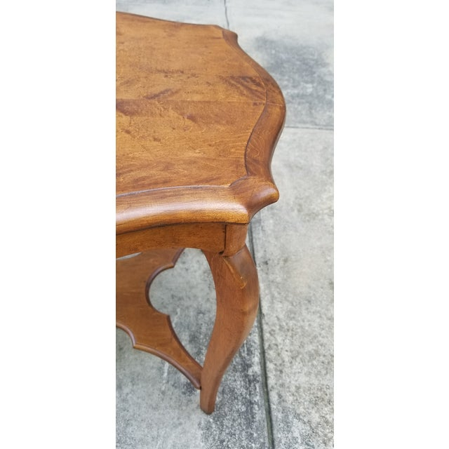 Wood Antique Serpentine Side Table For Sale - Image 7 of 12