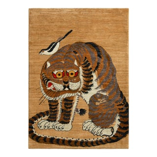"""Handknotted Tiger with Perched Bird Rug, 3'6""""x5'"""