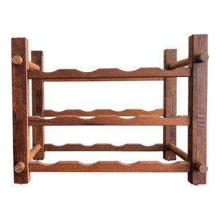 Teak Wine Rack & Tray For Sale