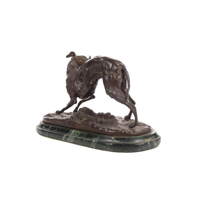 Metal Bronze Greyhound Whippet Figurine by P.J. Mene For Sale - Image 7 of 10