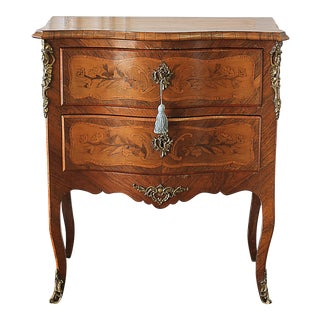 20th Century Louis XV Style Inlay Commode with Bronze Mounts For Sale