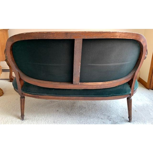Early 20th Century Antique French Green Velvet Love Seat For Sale - Image 5 of 9