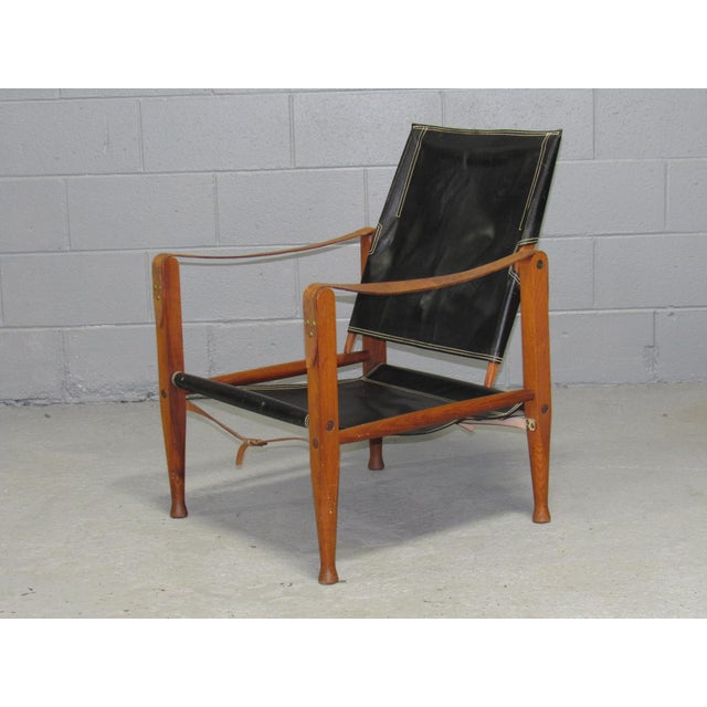Black Leather Safari Chair by Kaare Klint for Rud Rasmussen For Sale - Image 10 of 10
