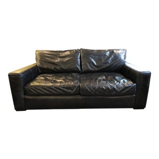 Contemporary Restoration Hardware Leather Maxwell Sofa For Sale