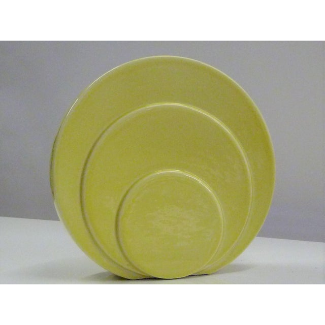 Art Deco 1930s Art Deco TAC Circlet Disc Vase in Yellow Trenton Pottery For Sale - Image 3 of 10