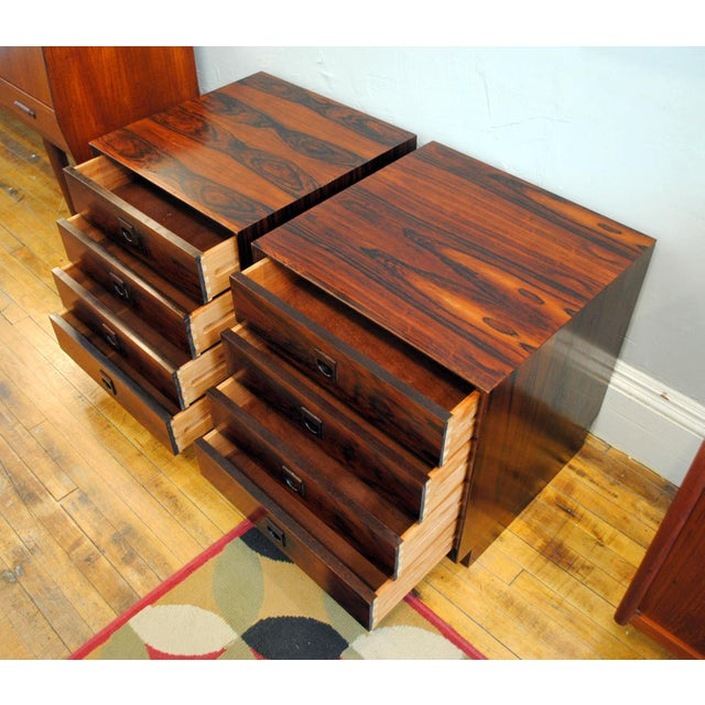 Beech Danish Brazilian Rosewood 4 Drawer Nightstands- A Pair For Sale - Image 7 of 10