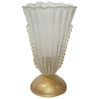 Vintage Italian Murano Scalloped Lamp For Sale