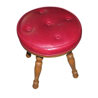 Red Cushioned Wooden Stool For Sale