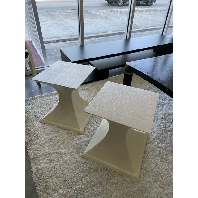 Linen 1970s Linen Wrapped Side Tables - a Pair For Sale - Image 8 of 8
