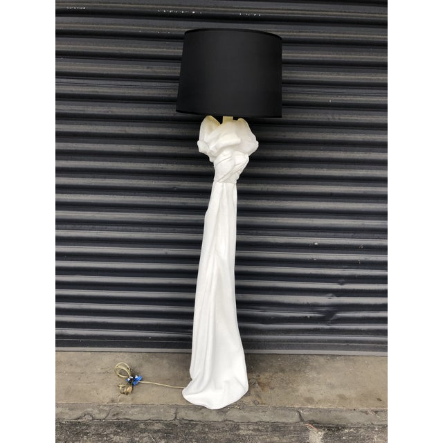 White Vintage John Dickinson Style Knotted Draped Plaster Floor Lamp For Sale - Image 8 of 13