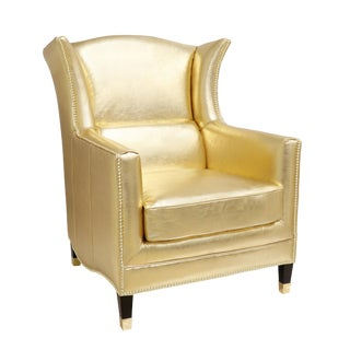 Pasargad Home Gold Vicenza Collection Wing Chair For Sale