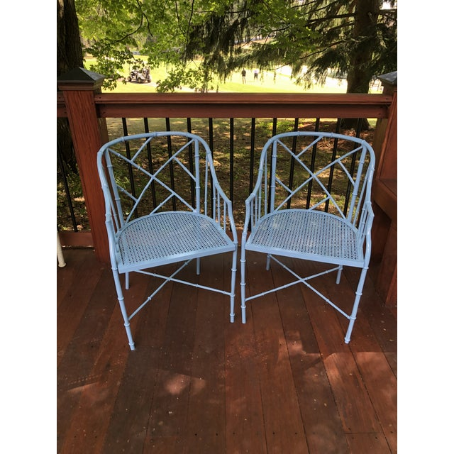 Metal 1970s Vintage Cast Aluminum Chinese Chippendale Faux Bamboo Barrel Chairs- A Pair For Sale - Image 7 of 13