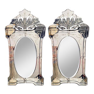 Pair of Venetian Style Glass Wall Console Mirrors, Etched For Sale
