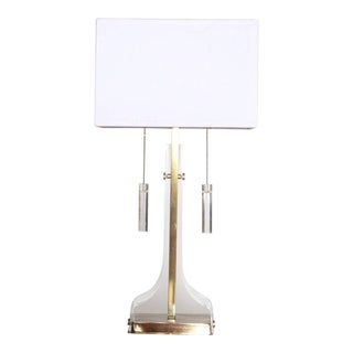 Laurel Lucite and Brass Table Lamp For Sale