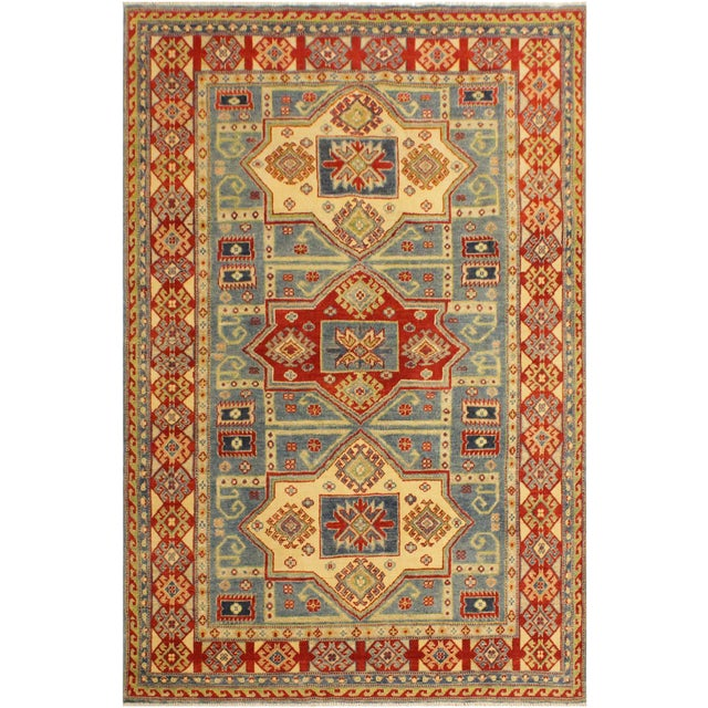 Kazak Garish Aaron Lt. Blue/Beige Wool Rug - 4'9 X 6'7 For Sale