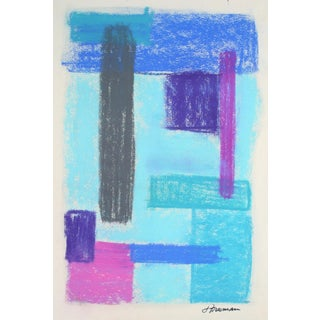 Bright Pastel Abstract in Blue, Circa 1960s For Sale