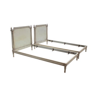 Carved Louis XVI Twin Bed Frames in a SilGrey-Blue - a Pair For Sale