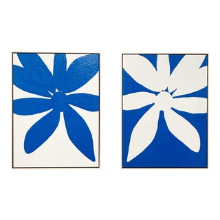 "Exclusive John O'Hara ""Big Blue Daisy"" Encaustic Paintings - 2 Panels For Sale"