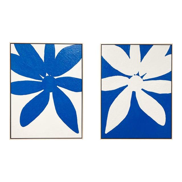 "Exclusive John O'Hara ""Big Blue Daisy"" Encaustic Paintings - 2 Panels For Sale"