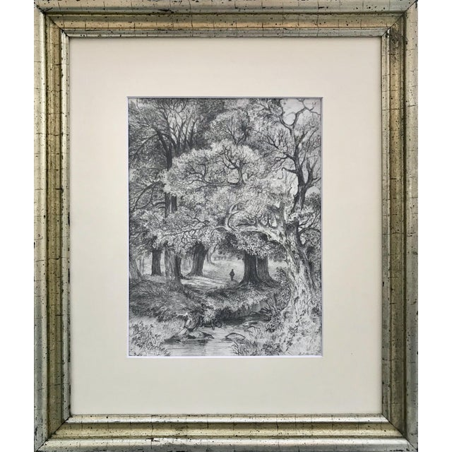 Drawing/Sketching Materials Antique 19th Century English Graphite Landscape Drawing For Sale - Image 7 of 7