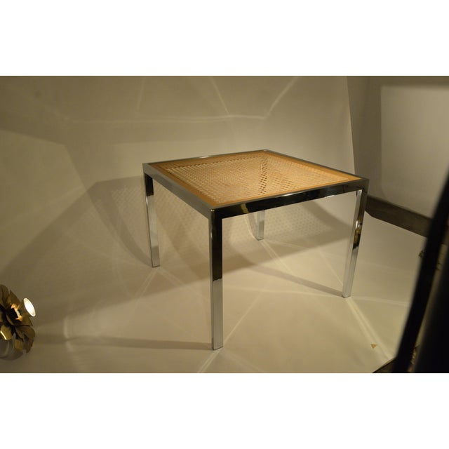 Milo Baughman Vintage Mid-Century Chrome, Glass and Wicker Game Table - Image 3 of 4