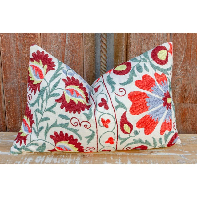 Nalin Coral Floral Suzani Pillow For Sale - Image 9 of 10